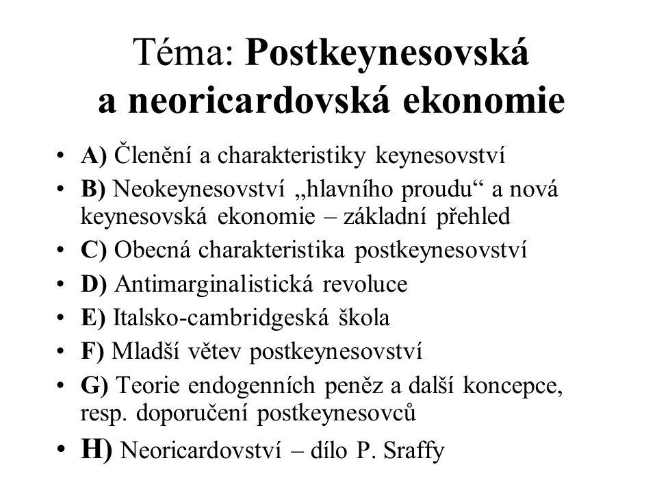Téma: Postkeynesovská a neoricardovská ekonomie