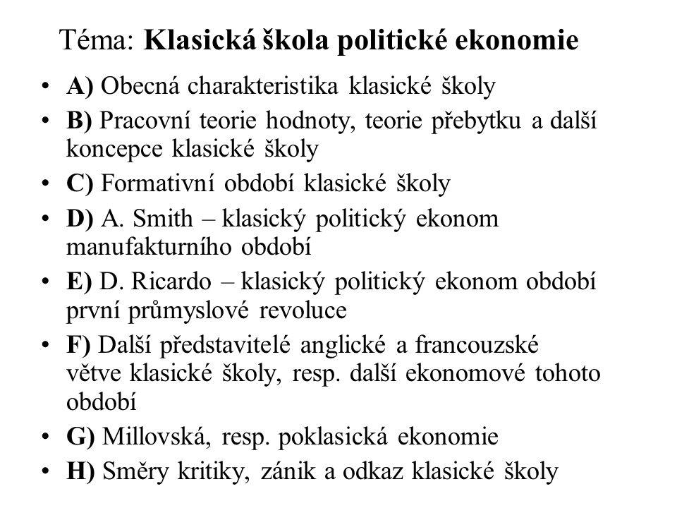 Téma: Klasická škola politické ekonomie