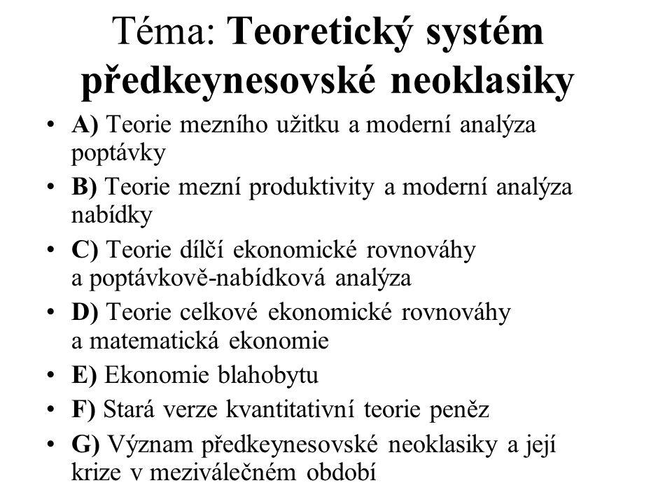 Téma: Teoretický systém předkeynesovské neoklasiky