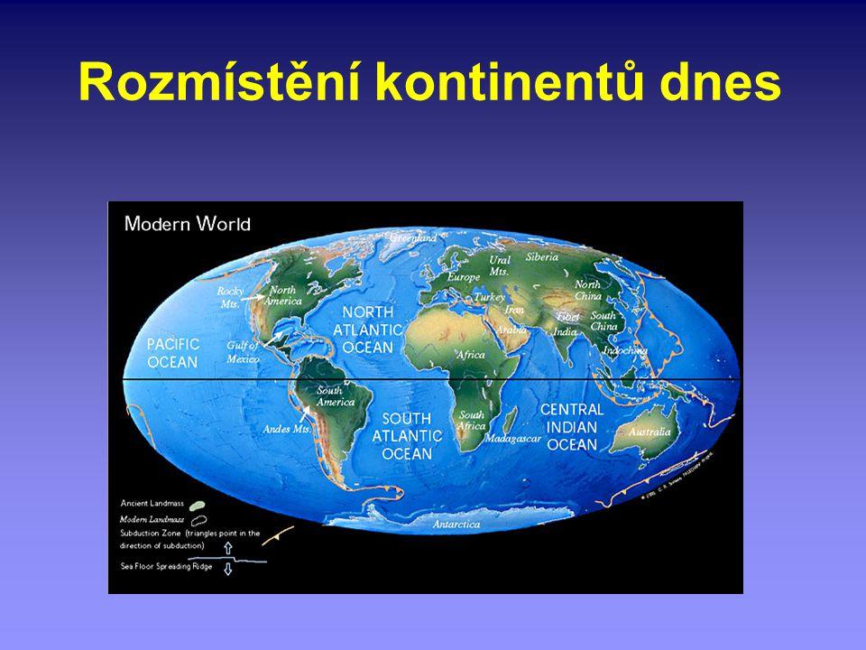 Rozmístění kontinentů dnes