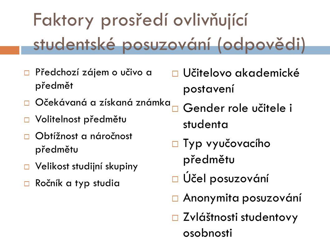 Faktory prosředí ovlivňující studentské posuzování (odpovědi)