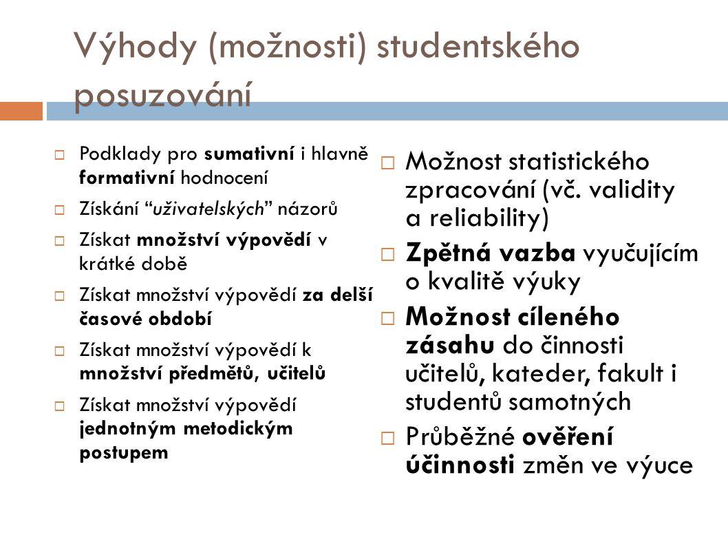 Výhody (možnosti) studentského posuzování