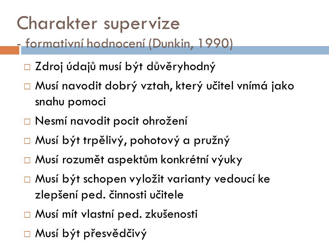 Charakter supervize - formativní hodnocení (Dunkin, 1990)