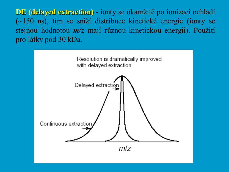 DE (delayed extraction) - ionty se okamžitě po ionizaci ochladí (~150 ns), tím se sníží distribuce kinetické energie (ionty se stejnou hodnotou m/z mají různou kinetickou energii).