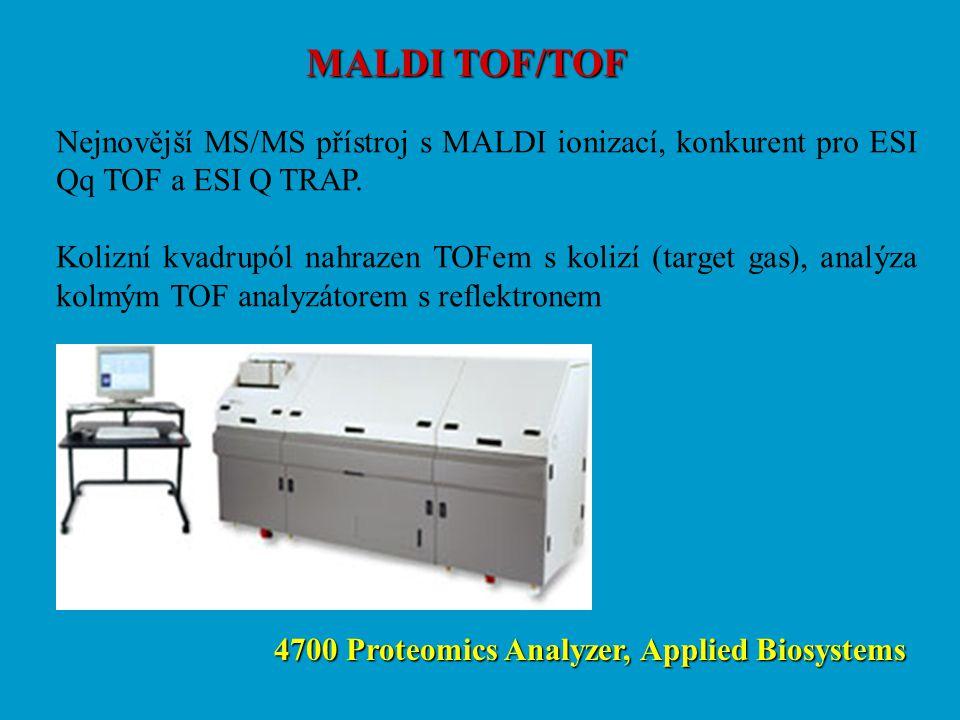 MALDI TOF/TOF Nejnovější MS/MS přístroj s MALDI ionizací, konkurent pro ESI Qq TOF a ESI Q TRAP.