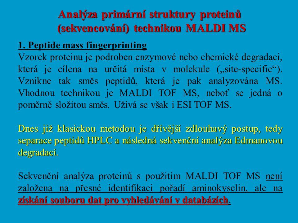 Analýza primární struktury proteinů (sekvencování) technikou MALDI MS