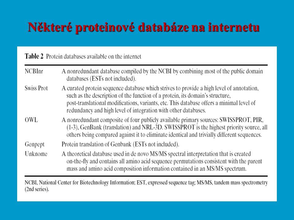 Některé proteinové databáze na internetu