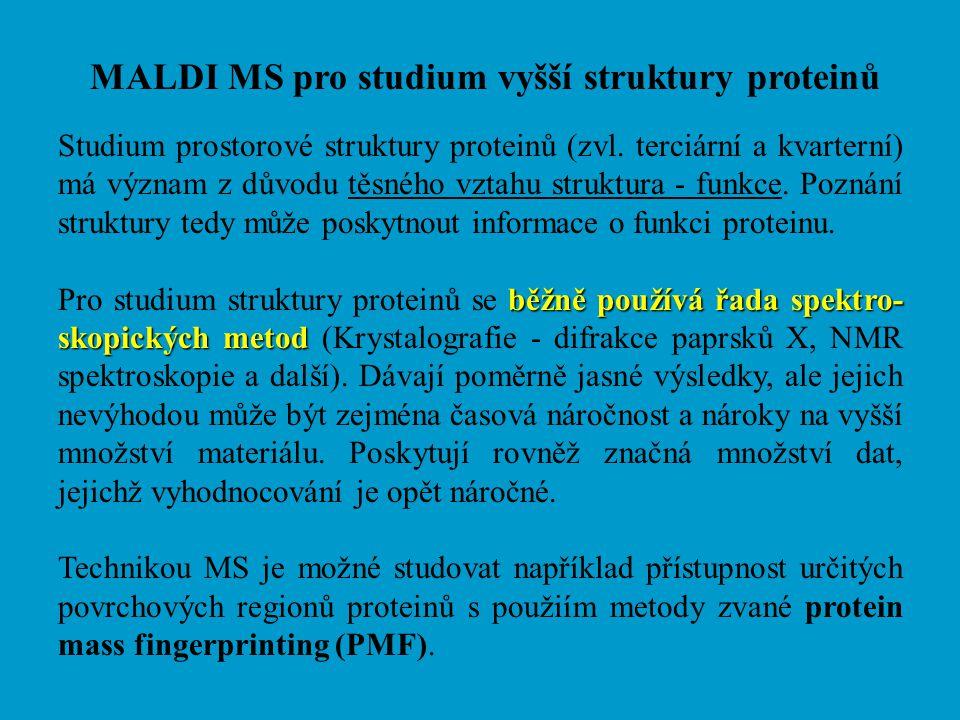 MALDI MS pro studium vyšší struktury proteinů