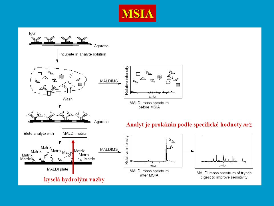 MSIA Analyt je prokázán podle specifické hodnoty m/z