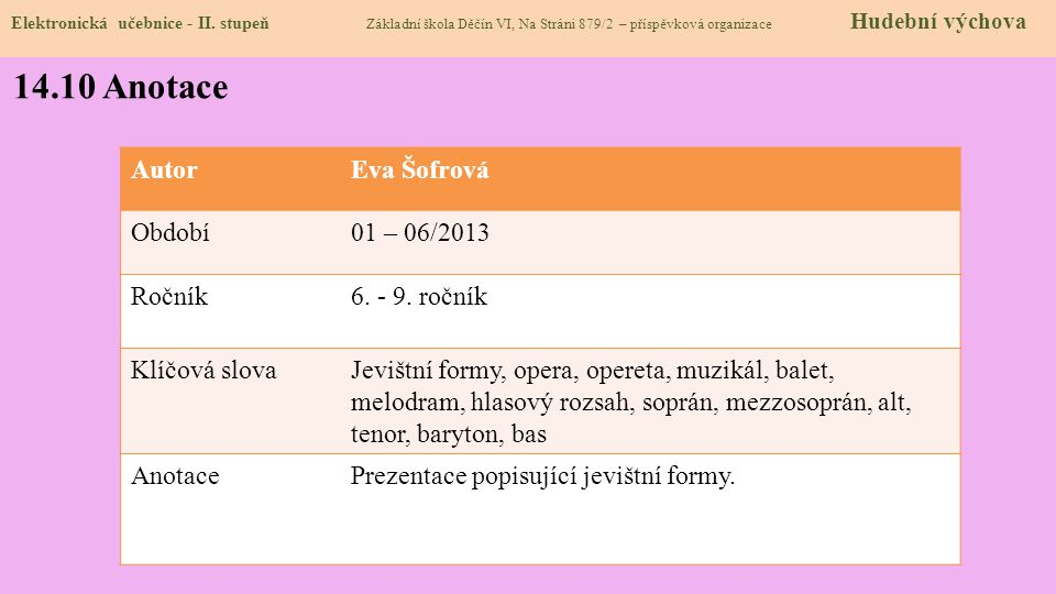 14.10 Anotace Autor Eva Šofrová Období 01 – 06/2013 Ročník