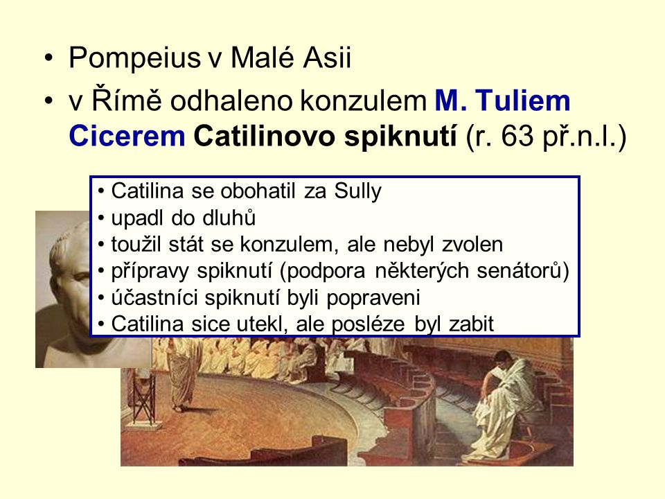 Pompeius v Malé Asii v Římě odhaleno konzulem M. Tuliem Cicerem Catilinovo spiknutí (r. 63 př.n.l.)