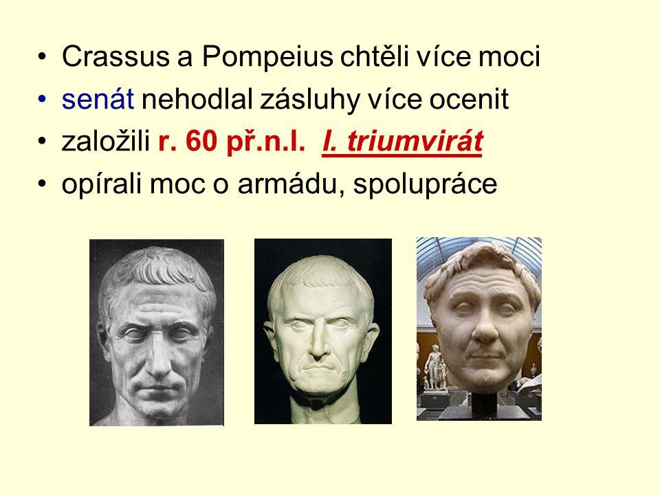 Crassus a Pompeius chtěli více moci