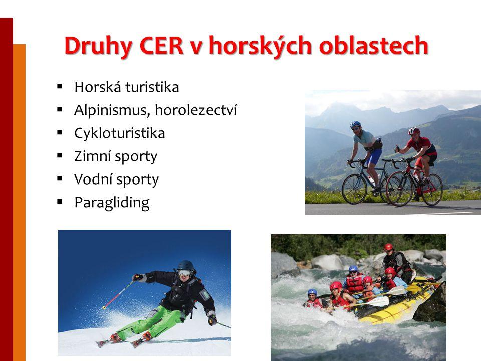 Druhy CER v horských oblastech