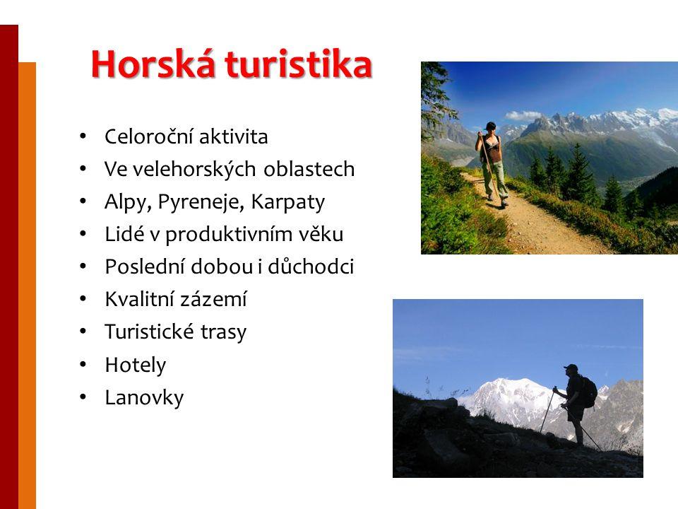 Horská turistika Celoroční aktivita Ve velehorských oblastech