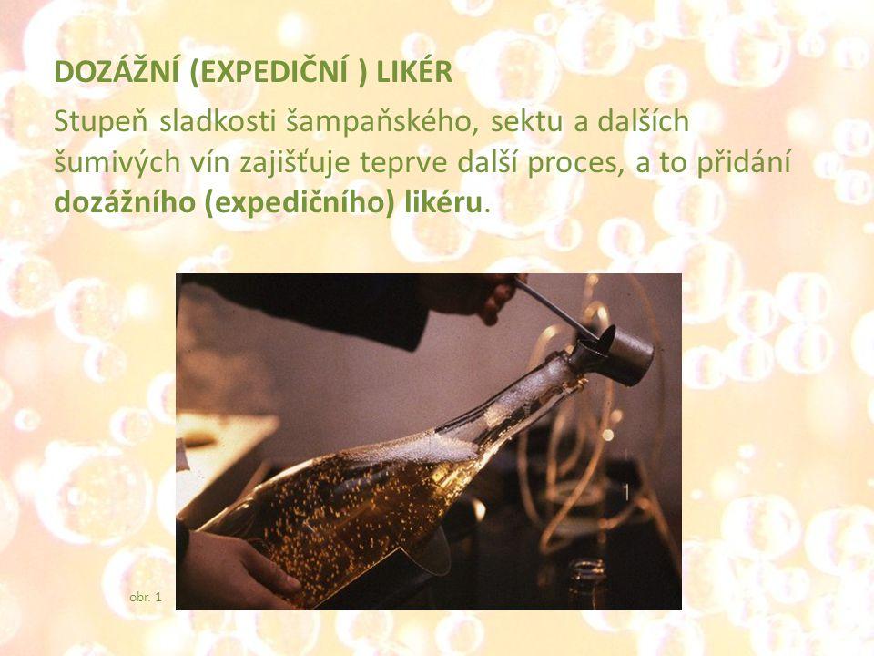 DOZÁŽNÍ (EXPEDIČNÍ ) LIKÉR Stupeň sladkosti šampaňského, sektu a dalších šumivých vín zajišťuje teprve další proces, a to přidání dozážního (expedičního) likéru.