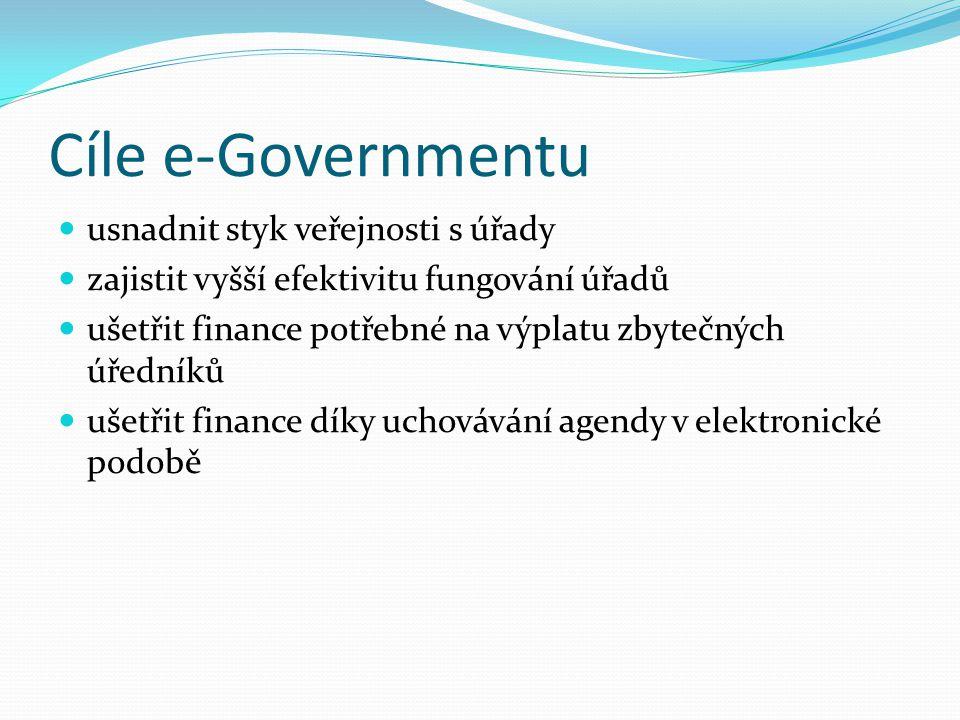 Cíle e-Governmentu usnadnit styk veřejnosti s úřady