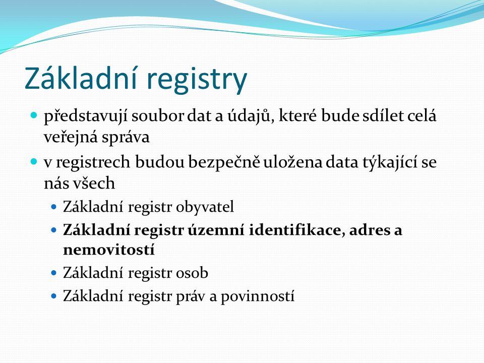 Základní registry představují soubor dat a údajů, které bude sdílet celá veřejná správa.