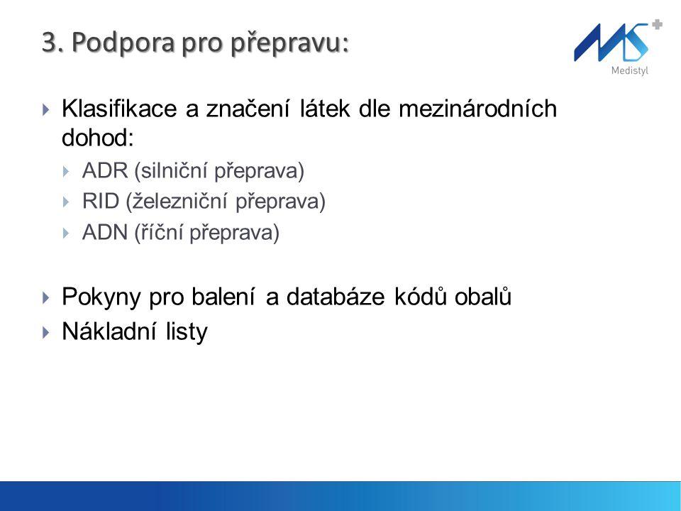 3. Podpora pro přepravu: Klasifikace a značení látek dle mezinárodních dohod: ADR (silniční přeprava)