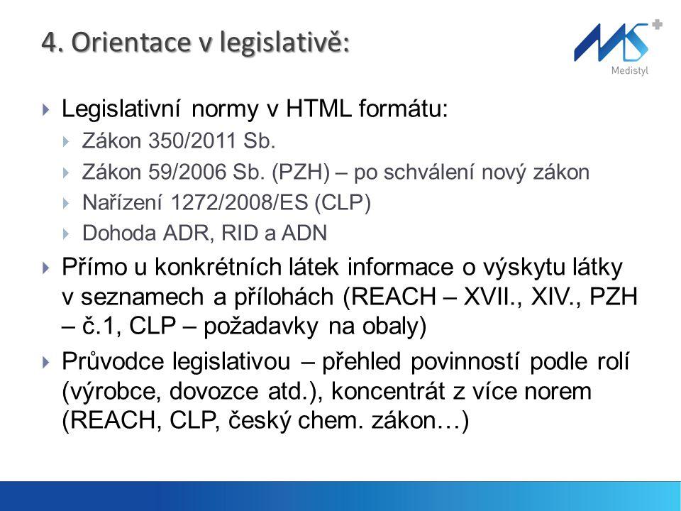 4. Orientace v legislativě: