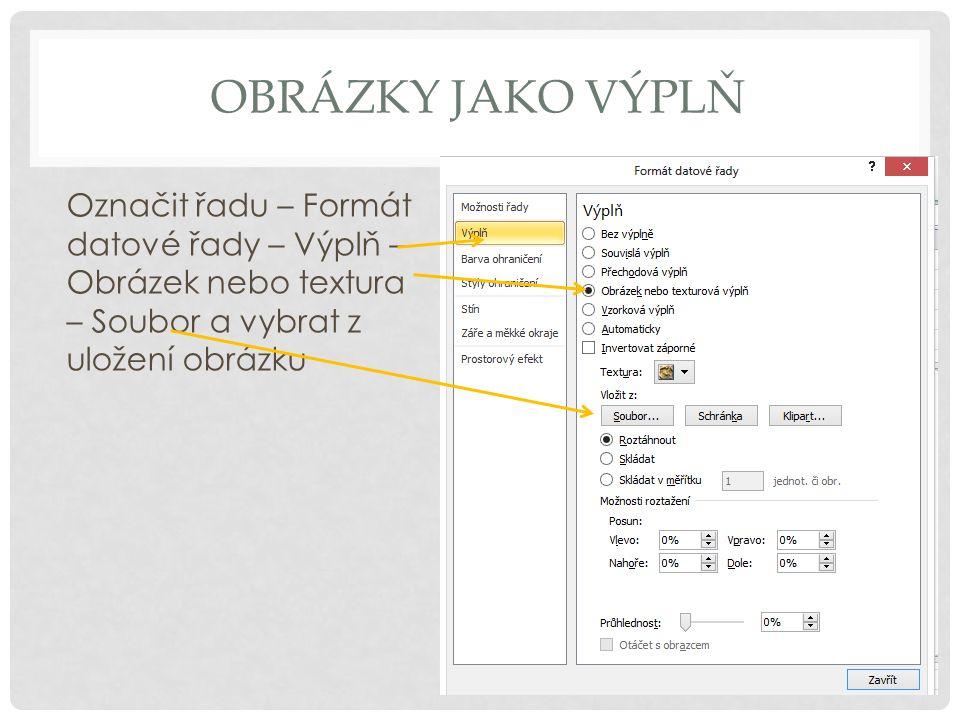 Obrázky jako výplň Označit řadu – Formát datové řady – Výplň – Obrázek nebo textura – Soubor a vybrat z uložení obrázku.
