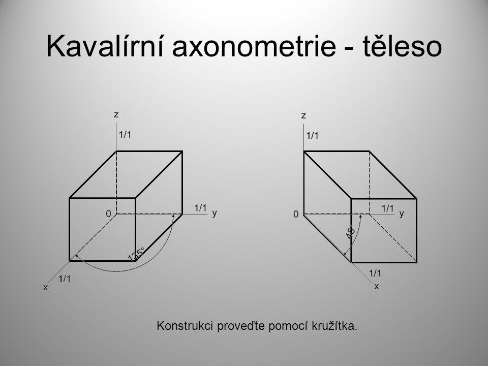 Kavalírní axonometrie - těleso