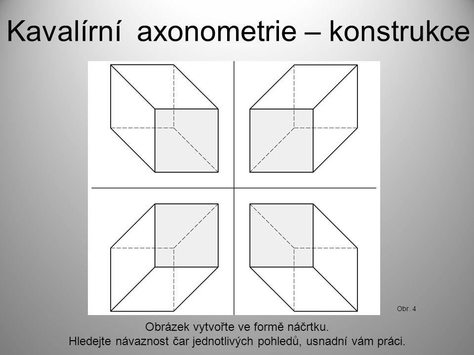 Kavalírní axonometrie – konstrukce