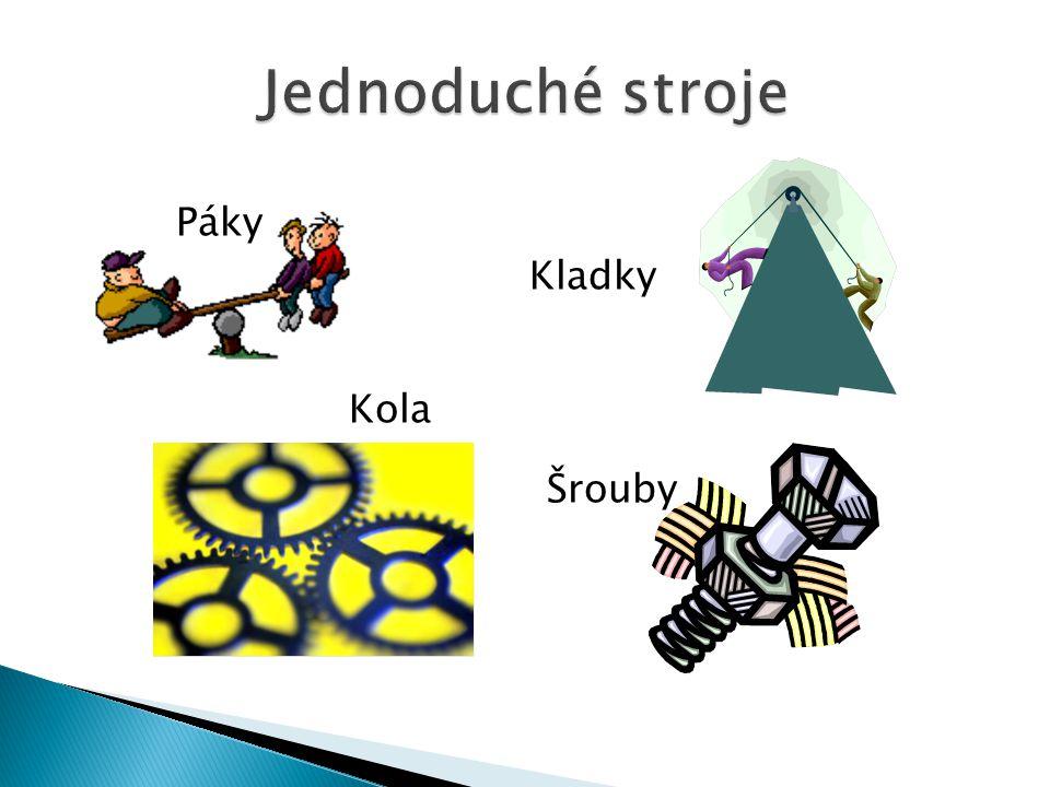 Jednoduché stroje Páky Kladky Kola Šrouby