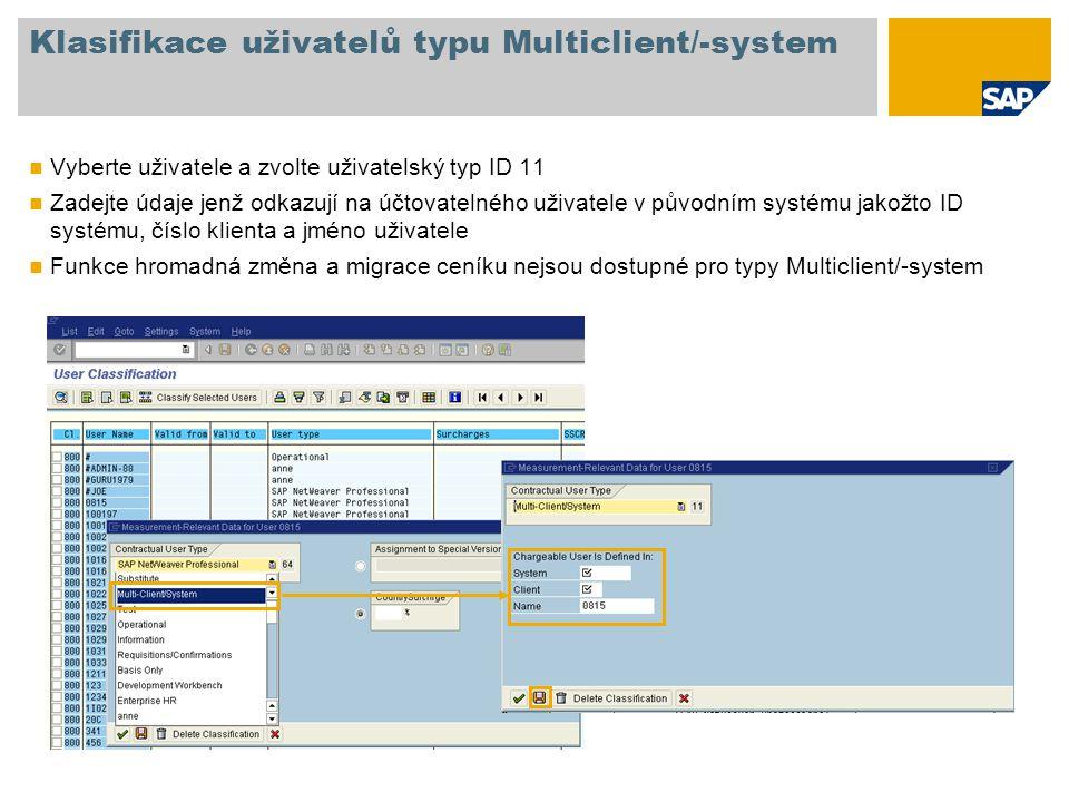 Klasifikace uživatelů typu Multiclient/-system