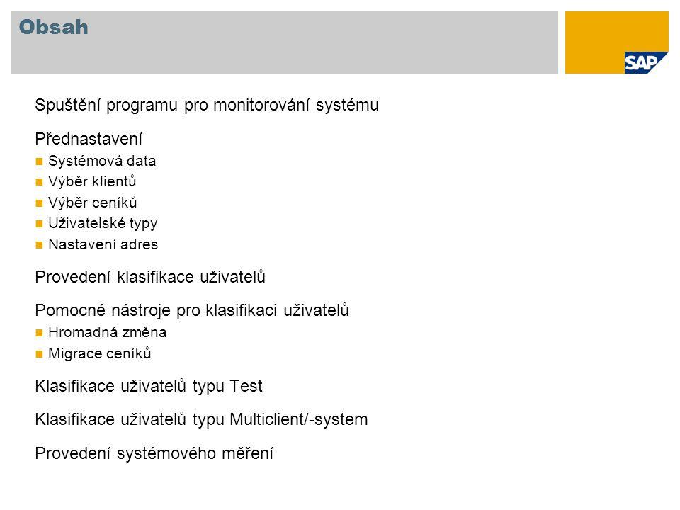 Obsah Spuštění programu pro monitorování systému Přednastavení
