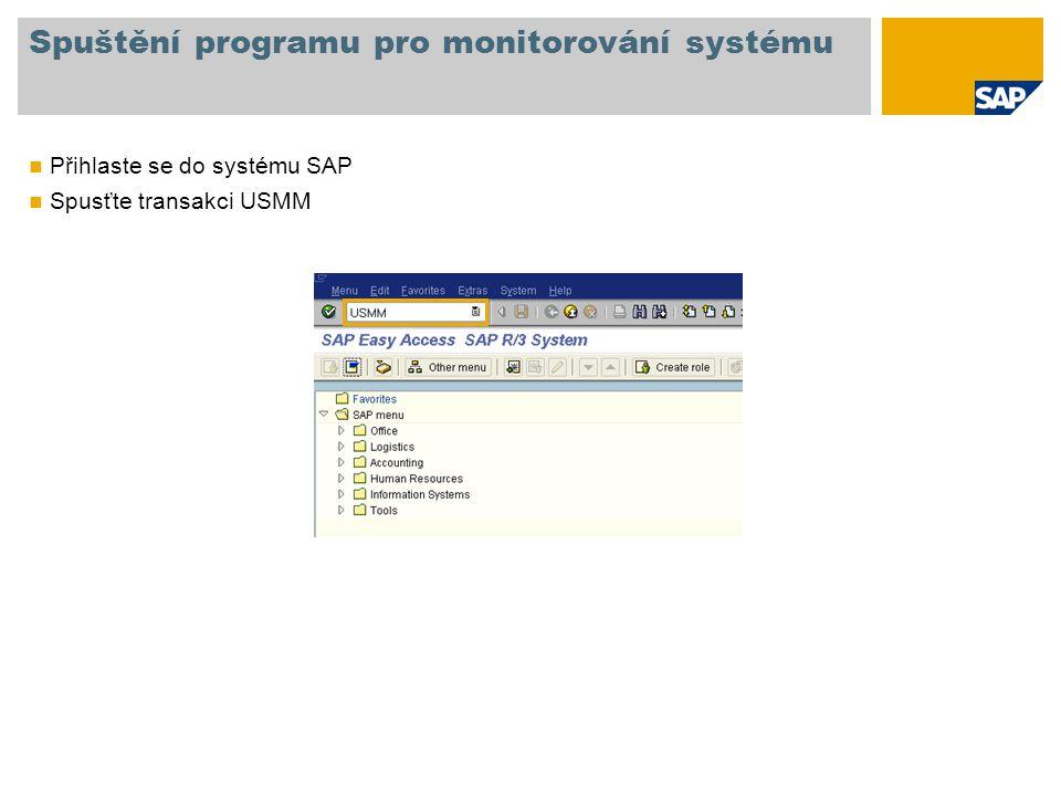 Spuštění programu pro monitorování systému