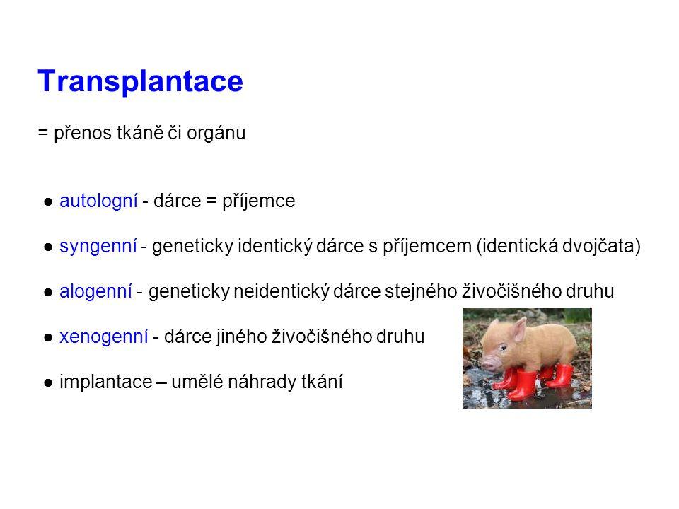 Transplantace = přenos tkáně či orgánu ● autologní - dárce = příjemce ● syngenní - geneticky identický dárce s příjemcem (identická dvojčata) ● alogenní - geneticky neidentický dárce stejného živočišného druhu ● xenogenní - dárce jiného živočišného druhu ● implantace – umělé náhrady tkání