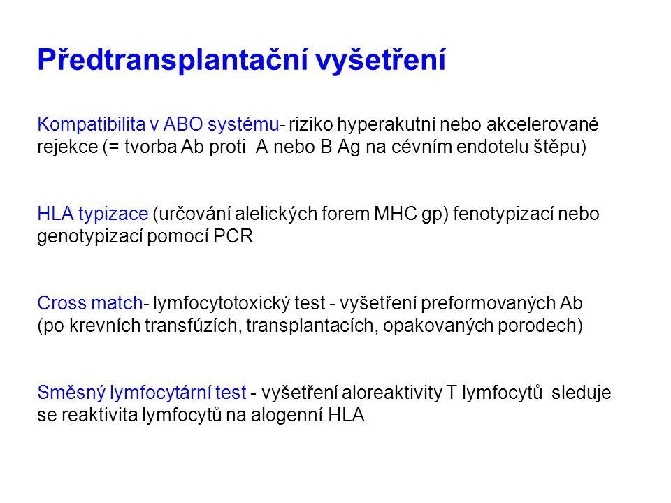 Předtransplantační vyšetření Kompatibilita v ABO systému- riziko hyperakutní nebo akcelerované rejekce (= tvorba Ab proti A nebo B Ag na cévním endotelu štěpu) HLA typizace (určování alelických forem MHC gp) fenotypizací nebo genotypizací pomocí PCR Cross match- lymfocytotoxický test - vyšetření preformovaných Ab (po krevních transfúzích, transplantacích, opakovaných porodech) Směsný lymfocytární test - vyšetření aloreaktivity T lymfocytů sleduje se reaktivita lymfocytů na alogenní HLA