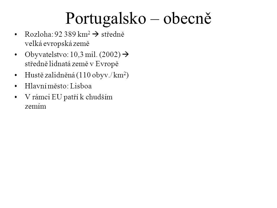 Portugalsko – obecně Rozloha: 92 389 km2  středně velká evropská země