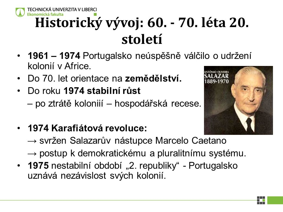 Historický vývoj: 60. - 70. léta 20. století