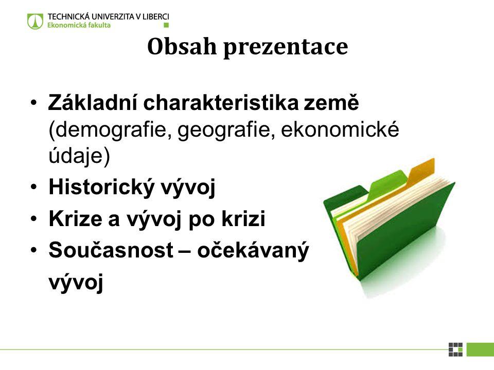 Obsah prezentace Základní charakteristika země (demografie, geografie, ekonomické údaje) Historický vývoj.
