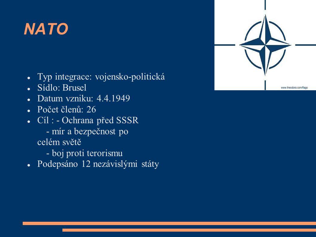 NATO Typ integrace: vojensko-politická Sídlo: Brusel