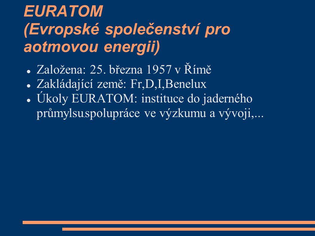 EURATOM (Evropské společenství pro aotmovou energii)