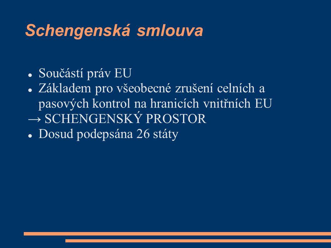Schengenská smlouva Součástí práv EU