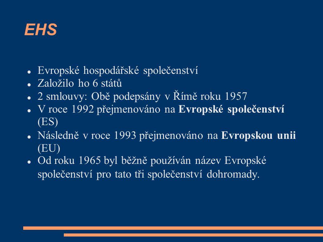 EHS Evropské hospodářské společenství Založilo ho 6 států