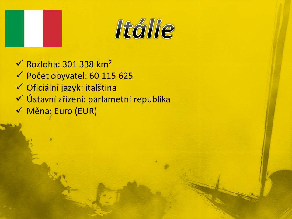 Itálie Rozloha: 301 338 km2 Počet obyvatel: 60 115 625