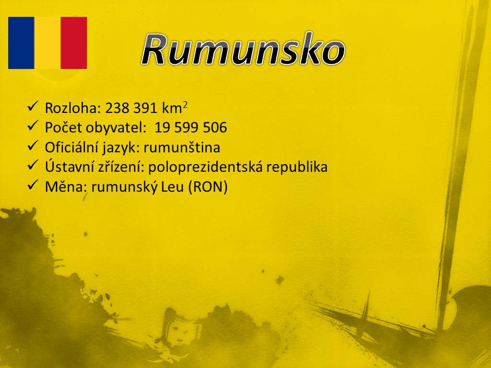 Rumunsko Rozloha: 238 391 km2 Počet obyvatel: 19 599 506