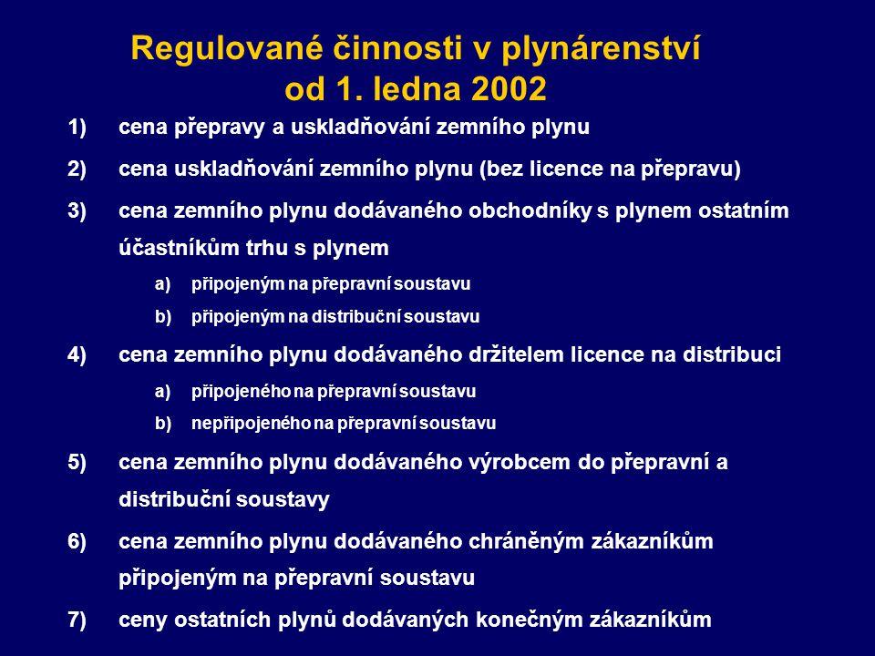 Regulované činnosti v plynárenství od 1. ledna 2002