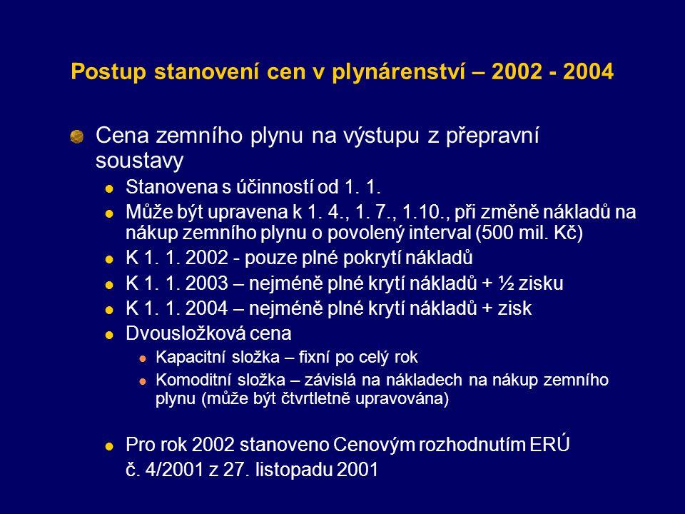Postup stanovení cen v plynárenství – 2002 - 2004
