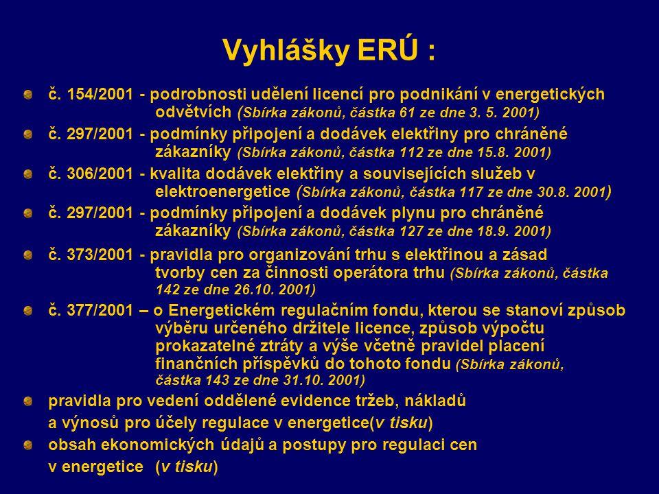 Vyhlášky ERÚ : č. 154/2001 - podrobnosti udělení licencí pro podnikání v energetických odvětvích (Sbírka zákonů, částka 61 ze dne 3. 5. 2001)