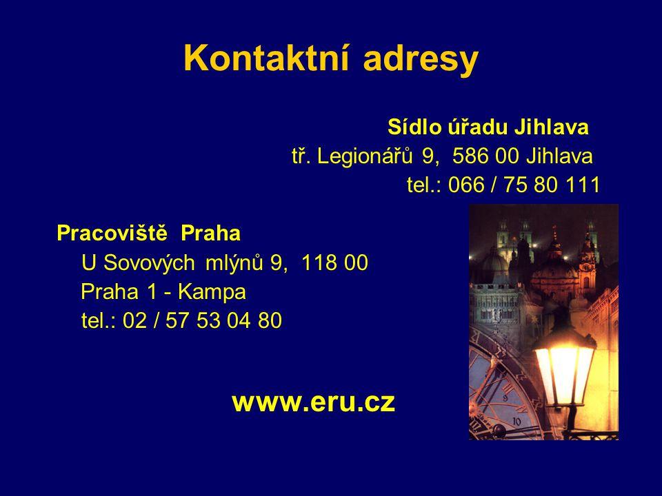 Kontaktní adresy www.eru.cz Sídlo úřadu Jihlava