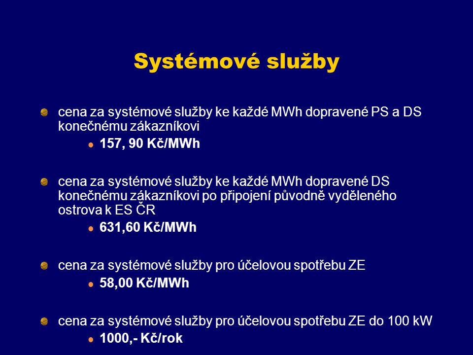Systémové služby cena za systémové služby ke každé MWh dopravené PS a DS konečnému zákazníkovi. 157, 90 Kč/MWh.