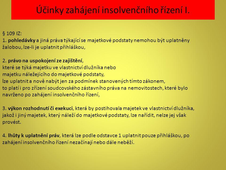 Účinky zahájení insolvenčního řízení I.