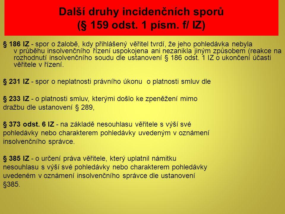 Další druhy incidenčních sporů (§ 159 odst. 1 písm. f/ IZ)