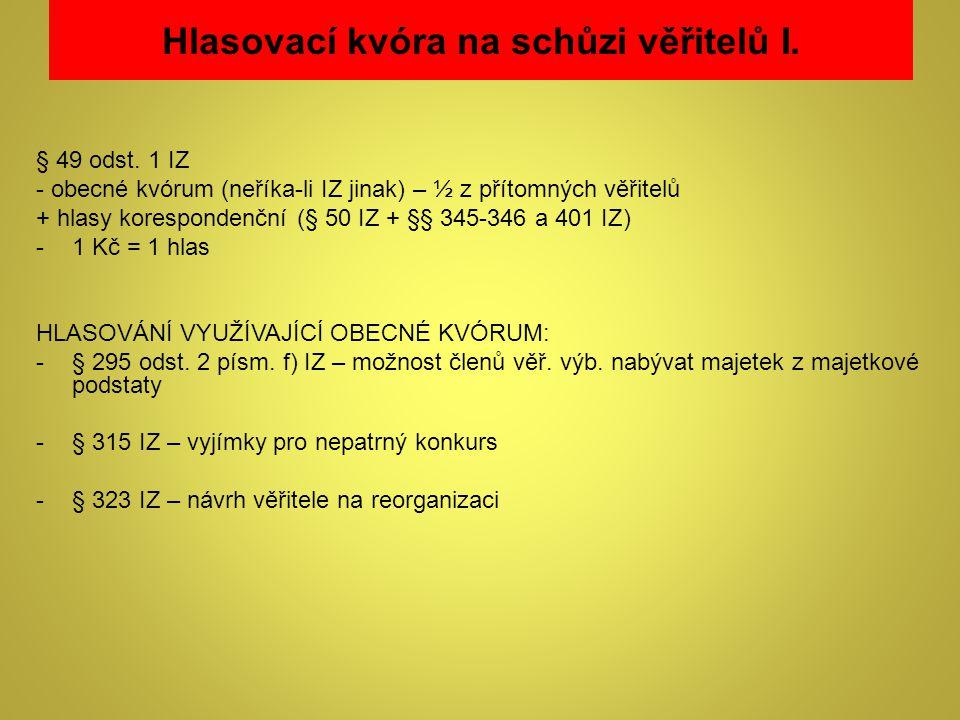 Hlasovací kvóra na schůzi věřitelů I.