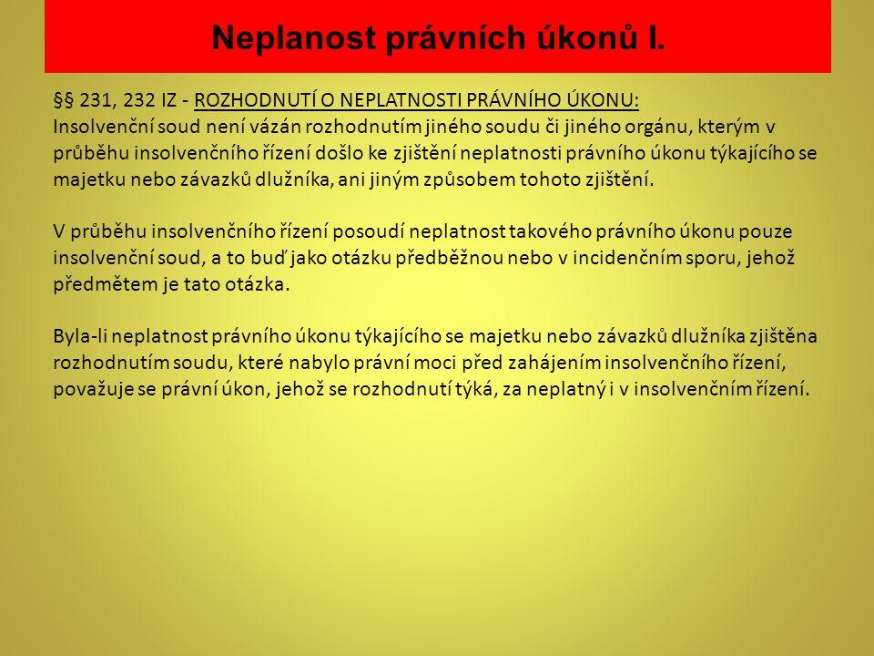 Neplanost právních úkonů I.